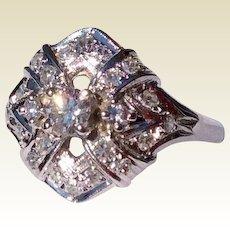1930'S Art Deco 14K White Gold Diamond Dinner Ring
