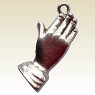 Vintage Sterling Silver Praying Hands Three Dimensional Charm