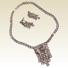 Vintage  1950'S Rhinestone Necklace & Earrings