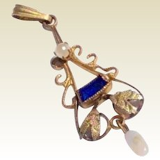 Vintage Gold Filled Sapphire Rhinestone & Faux Pearl Lavalier