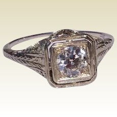Edwardian 18 K White Gold Filigree Diamond Engagement Ring