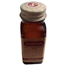 Vintage 1960'S Searle & Co. Brown Dramamine Bottle