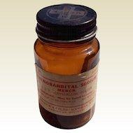 Vintage 1960'S Merck & Co. Brown Phenobarbital Sodium Bottle