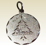 Vintage Sterling Silver Christmas Tree Disk Charm