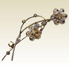 Vintage A B Silver Tone Metal Floral Rhinestone Brooch