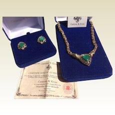Vintage Camrose & Kross Jackie Kennedy Malachite Necklace & Earrings