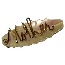 Vintage Gold Filled MOP Mother Brooch Pin