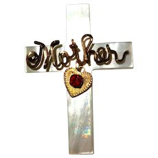 Vintage Gold Filled Mother Of Pearl Cross Pin