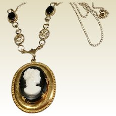 Upcycled Vintage 12 K Gold Filled Cameo Locket & Chain