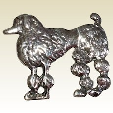 Vintage Sterling Silver French Poodle Brooch Or Pin