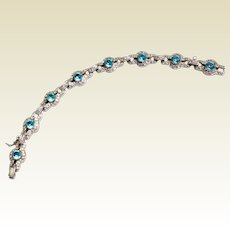 Art Deco Sterling Silver Blue Zircon Paste Bracelet