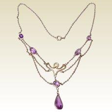 Antique Edwardian Gold Filled Festoon Necklace Faceted Amethyst Glass Droplets