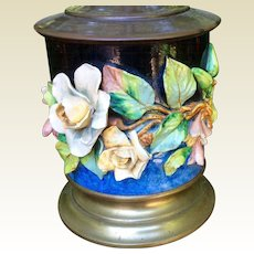 Antique Barbotine Majolica Floral 19th Century Lamp