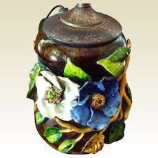 Large 19th Century   Barbotine Majolica FMCo Gros Relief Faience Manufacturing Company Floral Lamp
