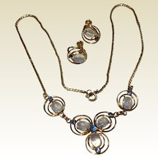 Vintage 12 K Gold Filled Van Dell Genuine Cabochon Moonstone Necklace & Earrings