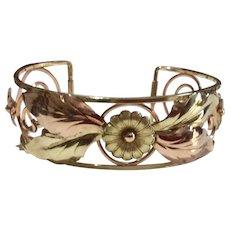 Art Deco Three Tone Gold Filled Floral Cuff Bracelet - Red Tag Sale Item