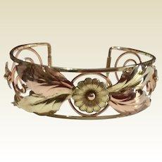 Art Deco Three Tone Gold Filled Floral Cuff Bracelet