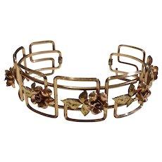 Art Deco  Two Tone Gold Filled Krementz Cuff Bracelet - Red Tag Sale Item