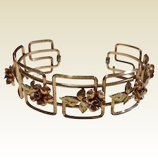 Art Deco  Two Tone Gold Filled Krementz Cuff Bracelet