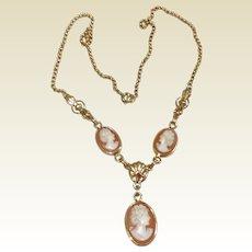 Vintage 12 K Gold Filled Van Dell Cameo Necklace