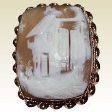 Antique Gold Filled Hand Carved Rebecca At Home Cameo Brooch