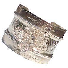 Vintage Sterling Silver Upcycled  Wide Cuff Butterfly Bracelet