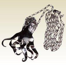 Vintage Sterling Silver Octopus Pendant Necklace