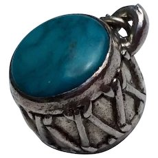 Vintage Sterling Silver & Turquoise Drum Charm Pendant - Red Tag Sale Item