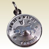 Vintage Sterling Silver Taurus Disk Charm