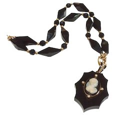 Victorian Onyx & 14K Gold Mourning Necklace With Black & White Onyx Cameo Mourning Locket