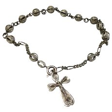 Vintage 800 Silver Rosary Bracelet