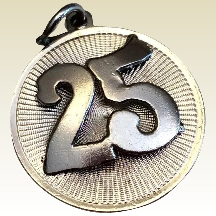 Vintage Sterling Silver 3d 25th Wedding Anniversary Charm Best