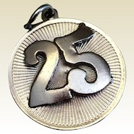 Vintage Sterling Silver 3D  25TH Wedding Anniversary Charm
