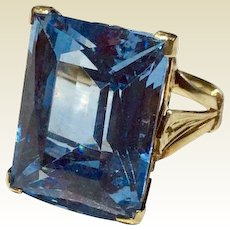 Vintage 18 K Gold Synthetic Blue Spinel Large Statement Ring
