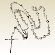 Vintage Sterling Silver Ribbed Bead Rosary