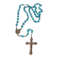 Sterling Blue Crystal Bead Rosary