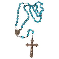 Vintage Sterling Silver Blue Crystal Bead Rosary