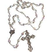 Wonderful Vintage Knights Of Columbus Faceted Aurora AB Crystal Bead Rosary