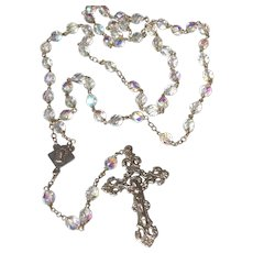 Knights Of Columbus Faceted Aurora AB Crystal Bead Rosary