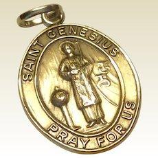 Vintage Estate Sterling Silver Saint Genesius Medal