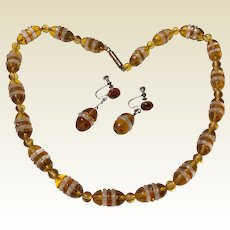 Vintage Amber & Clear Faceted Czech Glass Necklace & Dangle Earrings