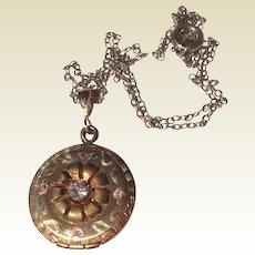Vintage Gold Filled Raised Flower Locket & Chain