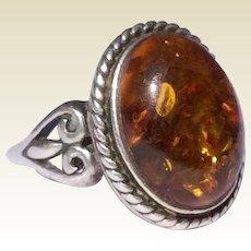 Vintage Sterling Silver Large Honey Amber Cabachon Ring