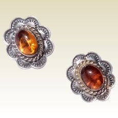 Vintage Sterling Silver & Amber Earrings
