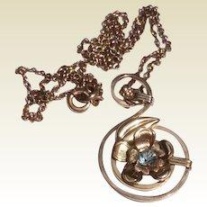 Vintage 10 K Gold Filled Natural Blue Zircon Pendant Necklace