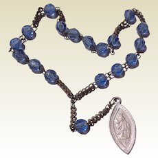 Vintage French  Blue Crystal Chaplet To Saint Anne de Breaupre
