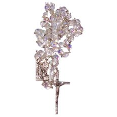 Vintage Italian Lourdes Pilgrimage Rosary Faceted Aurora AB Crystals