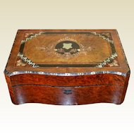 Victorian English Burled Mahogany Mother Of Pearl Lap Desk
