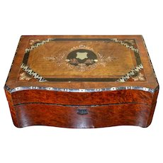 English Burled Mahogany Mother Of Pearl Lap Desk Victorian
