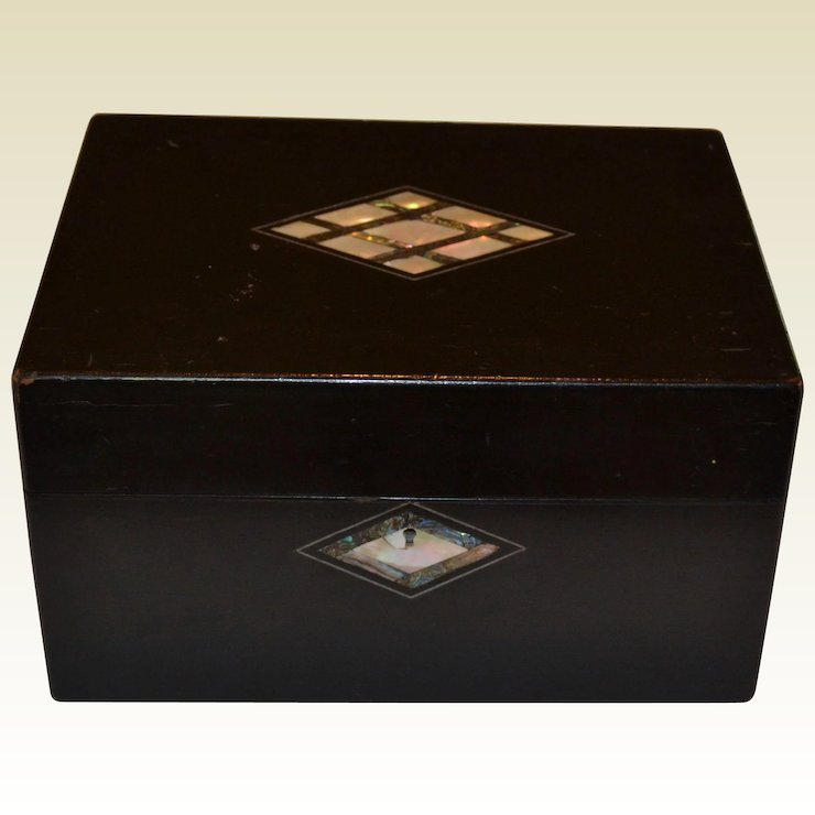 Antique Black Lacquer Mother Of Pearl Abalone Jewelry Box With